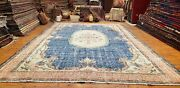 Primitive Late 1930and039s Antique Wool Pileteal Blue Dye Oushak Rug 7and0392andtimes10and0399