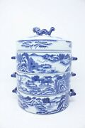 Rare Chinese Dragon Blue Willow 3 Stacking Tiffin Lunch Box Covered Dish