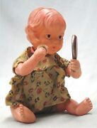 Vintage 1930's Wind Up Celluloid Baby Girl With Mirror And Powder Puff