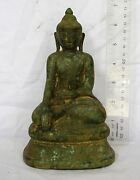 Magnificent 18th.c Bronze Lanna Chiang Saen Calling Earth To Witness Buddha