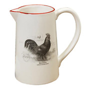 Country Farmhouse Vintage Rooster Design Dolomite Water Pitcher