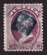 Us O32 24c Justice Dept. Official Used F-vf W/ Blue Square Fancy Cancel Scv 425