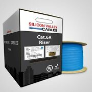 Cat6a Riser Cmr 1000ft Cable Solid Copper Ul Listed 850mhz Blue