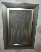 Old Original Mix Media Two Male Nudes Portrait Signed Rare Adolf Curry Framed