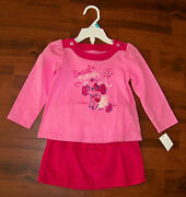 New Girls Wonder Kids 2pc Bright Pink Social Butterfly Puppy Outfit 18 Months