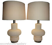 1018-601 Pair - Italian Frosted Glass And Chrome Lamps Bobo Piccoli For Laurel
