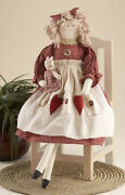 New Primitive Country Farmhouse 21 Sitting Rag Doll W/ Heart Apron And Cat