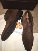 New John Lobb 2012 St. Crepin Ankle Boots Brown Suede Shearling Shoes Trees 12.5