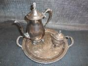 Antique 1883 F.b. Rogers Silver Co. Silverplated Coffee Tea Pot Creamer Tray Set