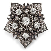 Antique Brooch In 580er Red Gold U.silver With Over 118 Ct Diamonds Um 1890
