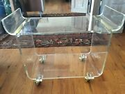 Lucite Rolling Server/bar Cart With Gold Accents With Wheels