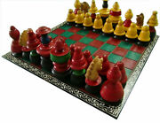 Big Vintage Chess Game Set Wooden Cowry Pieces Colorful Painted Folding Board