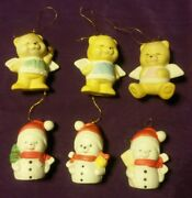 Vintageangel Bears And Snowmen Ceramic Christmas Ornaments Lot 6 1980and039s2 3/4