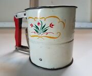 Antique Androck Hand-i-sift Flour Sifter Red Wooden Handle 3 Screens U.s.of A.