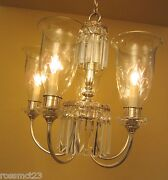 Vintage Lights 1940 Silver Chandelier With Stunning Glass Shades