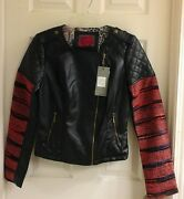 Celsius Black Faux Leather Jacket W/ Knit Arms Womenand039s Size Medium Nwt 145