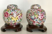 Pair Qing Antique Chinese Porcelain Ginger Jars Lids China Mille Fleur Stands