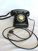 Stromberg Carlson 1546-w Rotary Dial Desk Phone Black Working Tested 0828