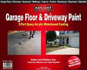 Adcoat Garage Floor And Driveway Paint - Waterbased 2-part Epoxy ,1 G. Kit, Grey