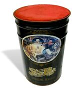 Pepsi Cola Round Pouffe Container Barrel In Tin Vintage 1960 Pouf