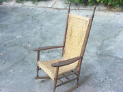 Antique Rocking Chair Circa 1890and039s Wicker Weave Seating Area American Made