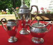 Marquise Pattern 3 Piece Coffee, Sugar And Creamer By 1847 Rogers Silver Plate