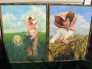 2 Chinese Paintings Farm Workers By 'benle' 1950's