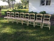 8 Antique Caned Painted Decorated Floral Dining Chairs