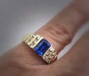 14k Gold Classic Channel-set Style Fine Blue Tanzanite And Diamond Ring