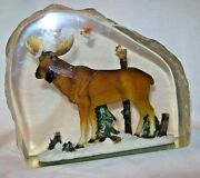 Vintage Carved Lucite Outdoor Scene Moose Birds Trees 5.5 X 6 X 2 Paperweight