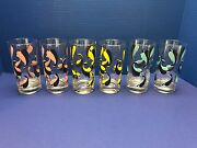 Set Of 6 Vintage 60's 70's Tumblers Water Glasses Vernonware Casual Maybe Schmoo