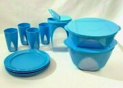 Tupperware Clear Impression 11 Piece Mixing Serving Bowls, Cups, Plates, Pitcher