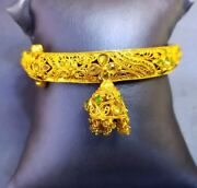 22k Gold Bangle Hand Crafted Open Able With Antique Finish Polish