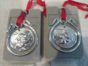 Rare Vintage French Silver-plate Christofle 2 Christmas Ornaments 1992