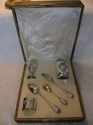 Beautiful Antique French Sterling Silver 950 Baby Gift Set 6pces Lxv Pattern