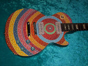 Circle Hand Painted Gibson Les Paul Guitar Vintage Design Made In Usa American