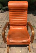60s Thonet Vinyl Danish Cantilever Highback Bentwood Space Age Mod Lounge Chair