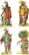 1880's Lovely Die Cut Victorian Native American Chiefs Lot Of 4 Cards Pd180
