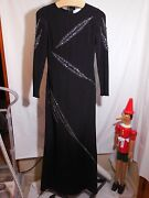 Misses Long Black 100 Silk Beaded Dress Gown Emilio Pucci Runway 8 9750