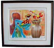 Peter Max Robed Man And Vase Framed Limited Edition Lithograph Hand Signed Coa