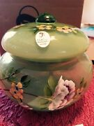 Fenton Candy Dish Family Signature Series 2006 Numbered Opalascent Green New