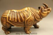 17 Lucky Chinese Fengshui Bronze Animal Bull Rhinoceros Horn Oxen Fu Statue