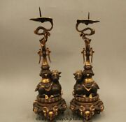 15 Chinese Dyansty Palace Bronze 24k Gold Sheep Candle Holder Candlestick Pair