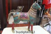 15 Chinese Bronze Inlay Turquoise Coral Gem Lucky Zodiac Horse Statue
