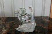 Rare Retired Lladro Figurine 4570 Girl With Goat