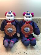 2 Asian 16 Ceremonial Dolls Blue White Porcelain Head And Medallion Cloth Body
