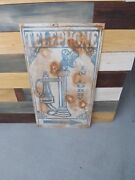 Vintage Telephone In Lobby Hotel Metal Sign Gas Oil Soda Cola 36' X 20