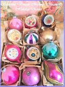 Beautiful Vintage Poland Antique Glass Xmas Ornaments Glittered Indents And Tips
