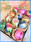 Fancy And Glitzy Vintage Poland Antique Glass Xmas Ornaments Hand Blown Tips