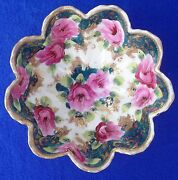 """Nippon Ruffled Edge 5½"""" Porcelain Candy Dish With Gold And Hand Painted Flowers"""